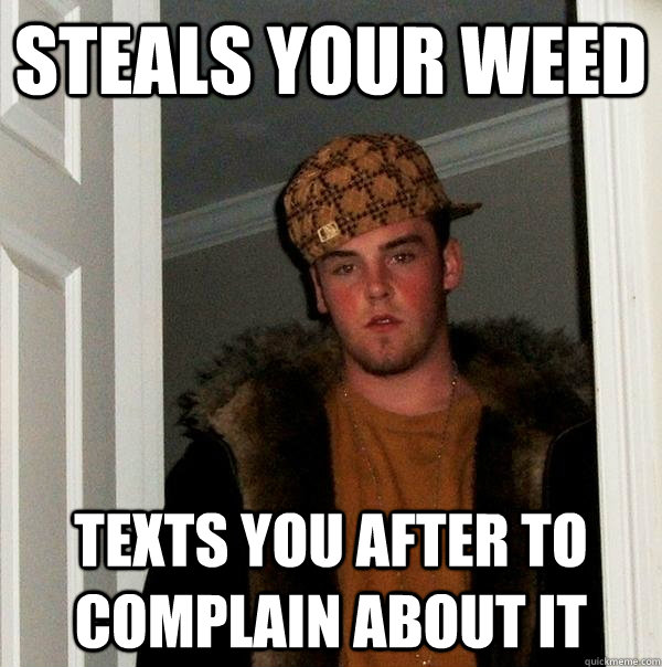 steals your weed texts you after to complain about it - Scumbag Steve