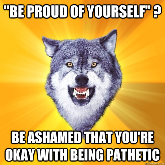 be proud of yourself be ashamed that youre okay with be - Courage Wolf