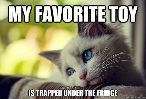 my favorite toy is trapped under the fridge - First World Problems Cat