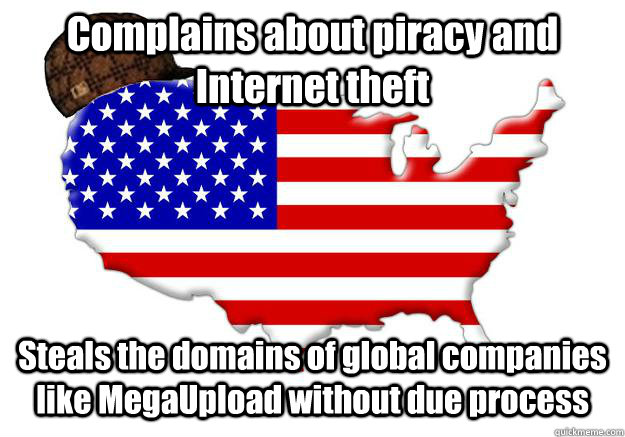 complains about piracy and internet theft steals the domains - Scumbag america