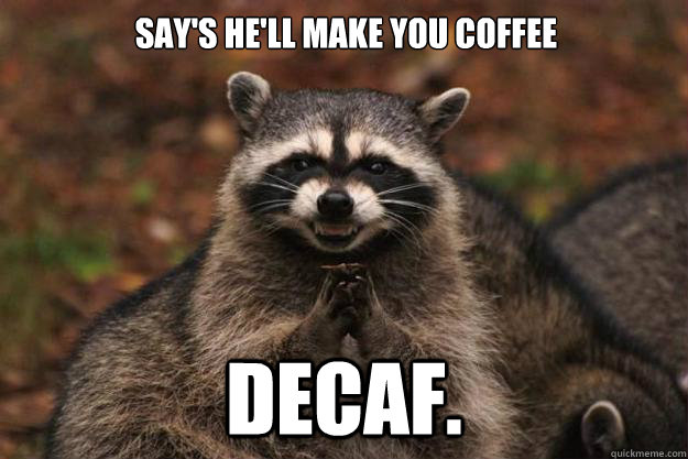 says hell make you coffee decaf - Evil Plotting Raccoon