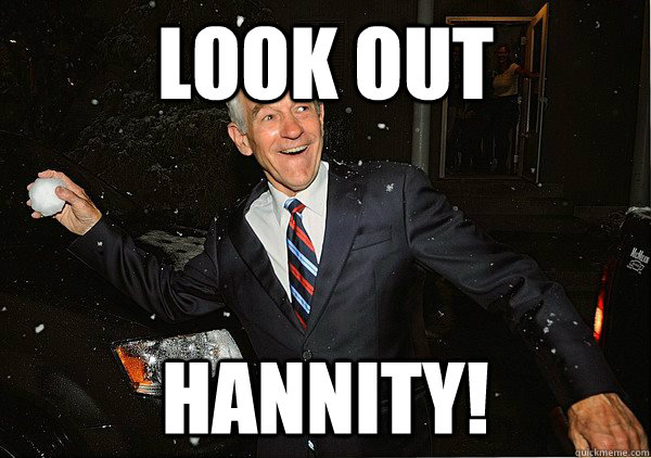 look out hannity - Ron Paul Snowball Fight