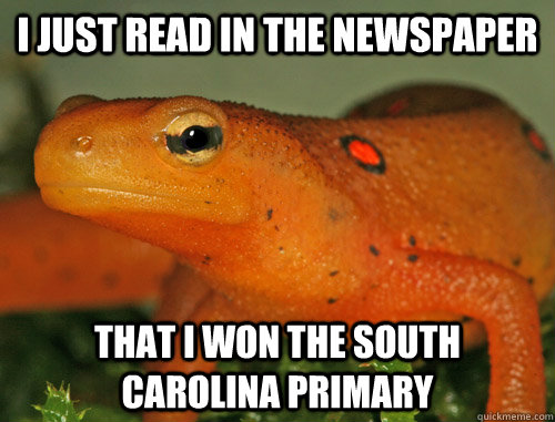 i just read in the newspaper that i won the south carolina p - Nonsensical Newt