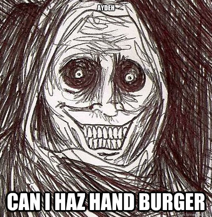 aydeh can i haz hand burger - Horrifying Houseguest