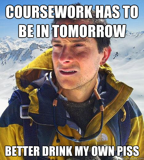 coursework has to be in tomorrow better drink my own piss - Bear Grylls
