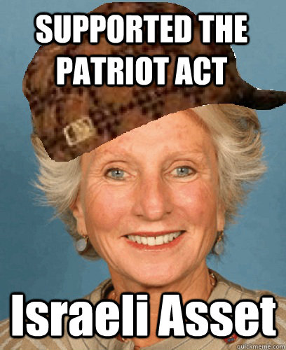 supported the patriot act israeli asset - Scumbag Jane Harman