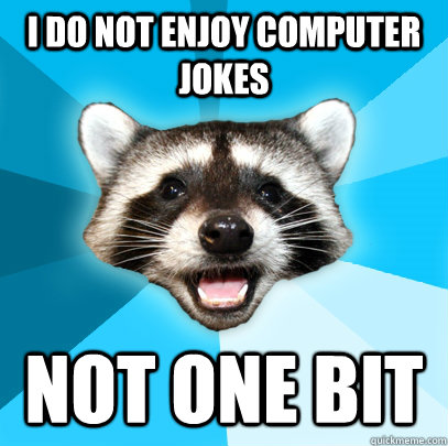 i do not enjoy computer jokes not one bit - Lame Pun Coon