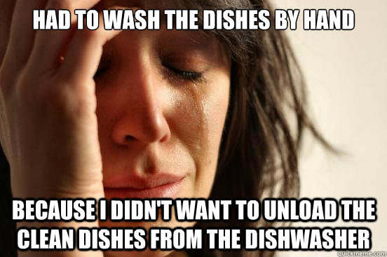 had to wash the dishes by hand because i didnt want to unlo - First World Problems