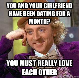 you and your girlfriend have been dating for a month you mu - Condescending Wonka