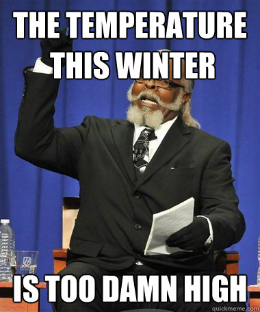 the temperature this winter is too damn high - Rent Is Too Damn High Guy