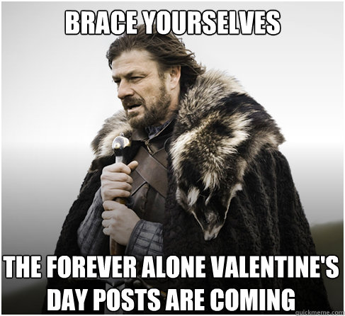 brace yourselves the forever alone valentines day posts are - boromirkimjong