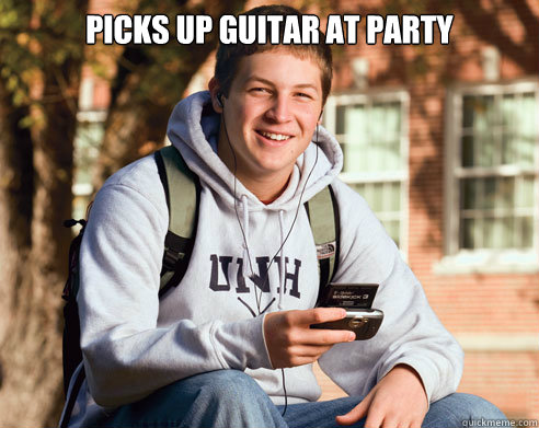 picks up guitar at party  - College Freshman