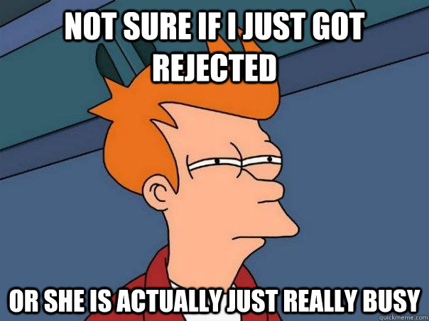 not sure if i just got rejected or she is actually just real - Futurama Fry