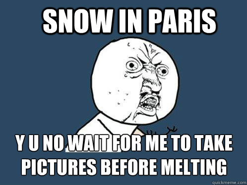 snow in paris y u no wait for me to take pictures before mel - Y U No