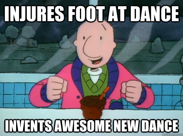 injures foot at dance invents awesome new dance - Success Doug