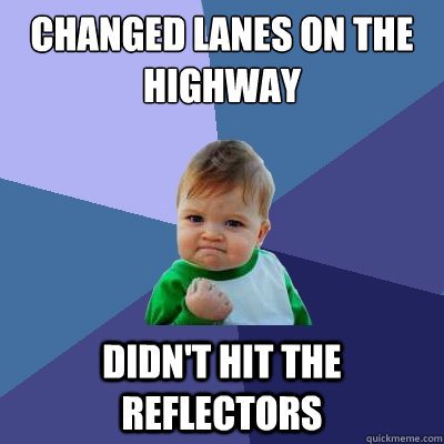 changed lanes on the highway didnt hit the reflectors - Success Kid