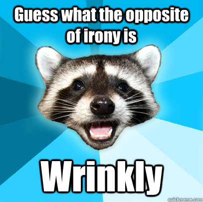 guess what the opposite of irony is wrinkly - Lame Pun Coon