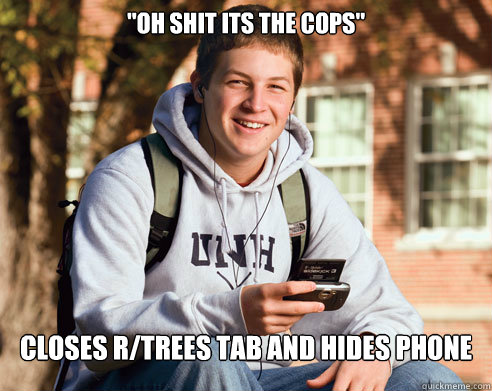 oh shit its the cops closes rtrees tab and hides phone - College Freshman