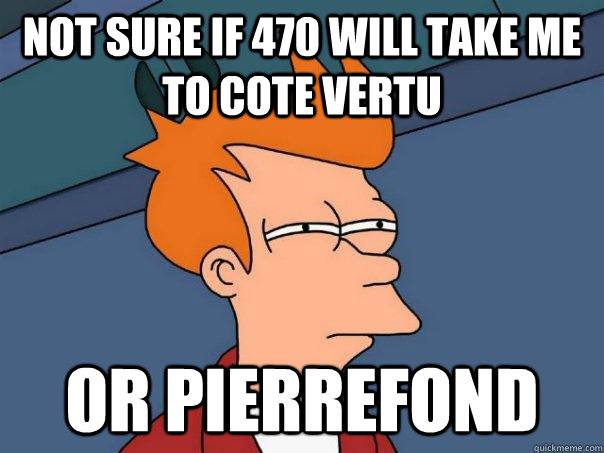 not sure if 470 will take me to cote vertu or pierrefond - Futurama Fry