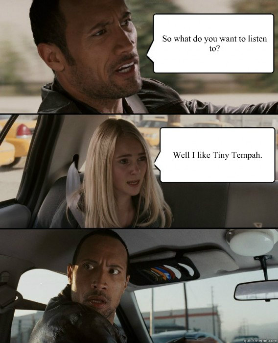 so what do you want to listen to well i like tiny tempah - The Rock Driving