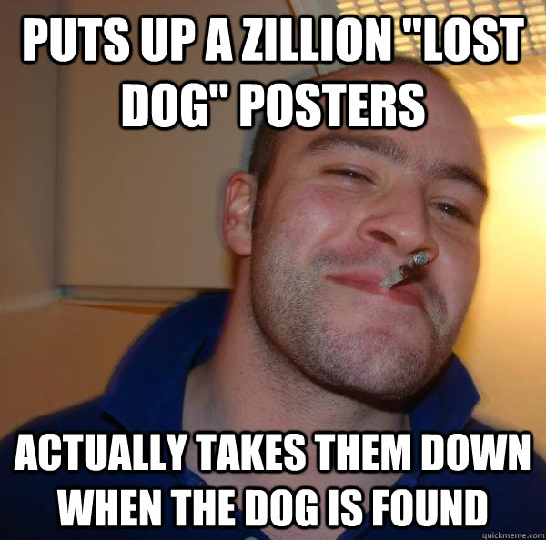 puts up a zillion lost dog posters actually takes them dow - Good Guy Greg