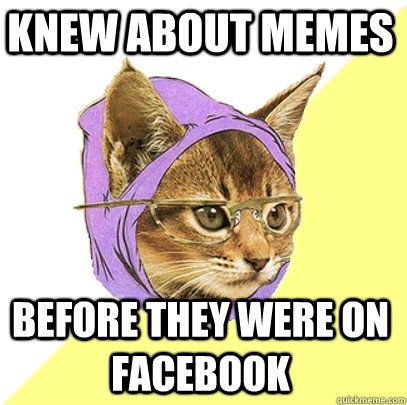 knew about memes before they were on facebook - Hipster Kitty