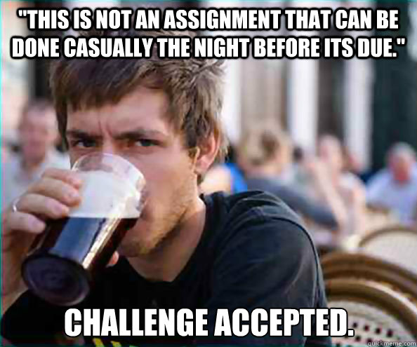 this is not an assignment that can be done casually the nig - Lazy College Senior