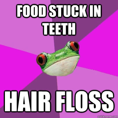 food stuck in teeth hair floss - Foul Bachelorette Frog