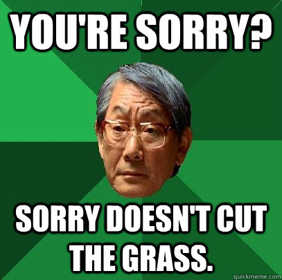 youre sorry sorry doesnt cut the grass - High Expectations Asian Father