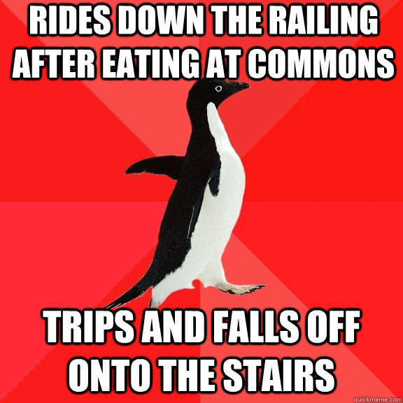 rides down the railing after eating at commons trips and fal - Socially Awesome Penguin