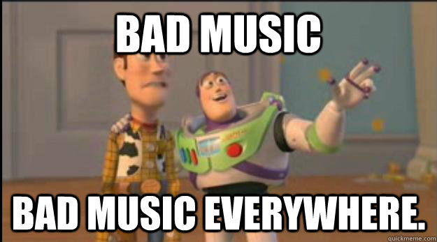 bad music bad music everywhere - buzz and woody