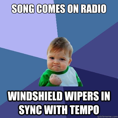 song comes on radio windshield wipers in sync with tempo - Success Kid