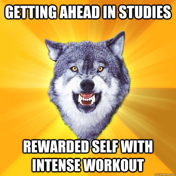 getting ahead in studies rewarded self with intense workout - Courage Wolf