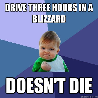 drive three hours in a blizzard doesnt die - Success Kid