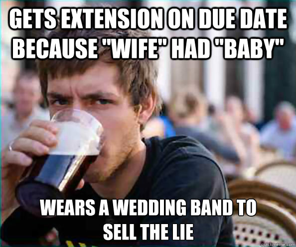 gets extension on due date because wife had baby wears a - Lazy College Senior