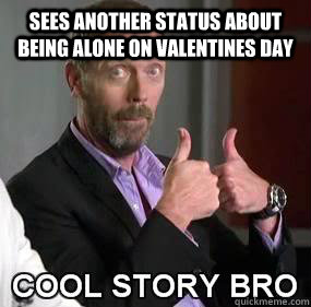sees another status about being alone on valentines day  - Cool story Valentine