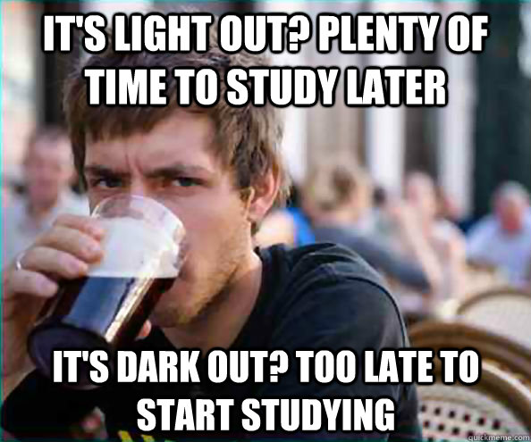 its light out plenty of time to study later its dark out - Lazy College Senior