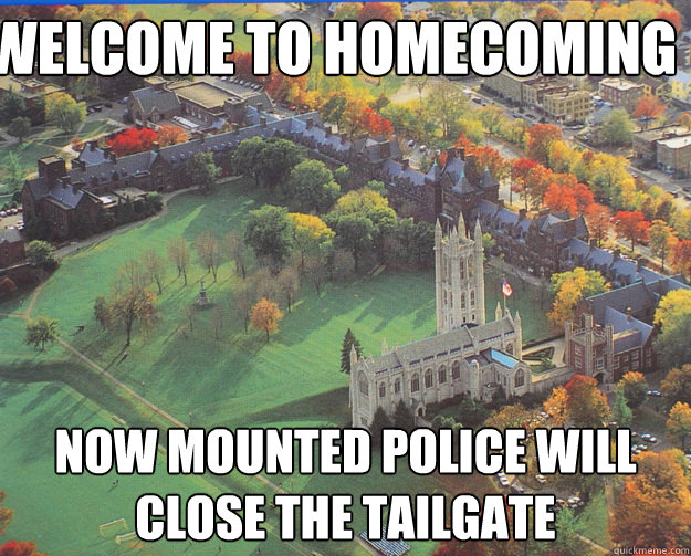 welcome to homecoming now mounted police will close the tail - TrinColl