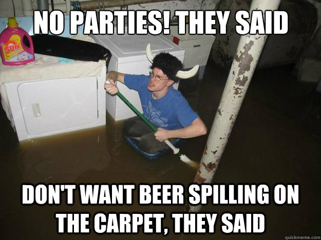 no parties they said dont want beer spilling on the carpet - Do the laundry they said