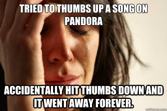 tried to thumbs up a song on pandora accidentally hit thumbs - First World Problems