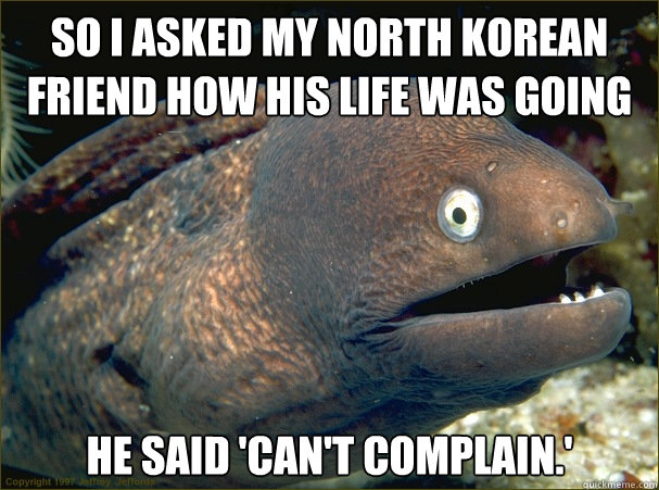 so i asked my north korean friend how his life was going he  - Bad Joke Eel