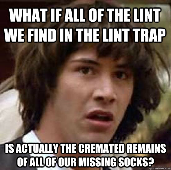 what if all of the lint we find in the lint trap is actually - conspiracy keanu