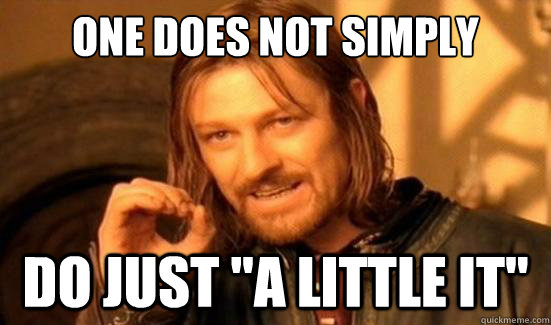 one does not simply do just a little it - Boromir