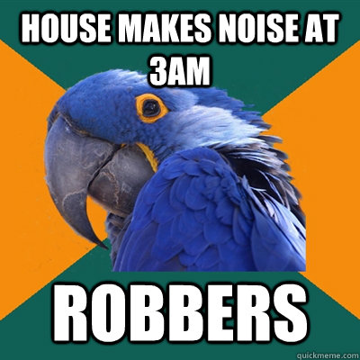 house makes noise at 3am robbers - Paranoid Parrot