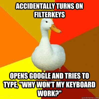 accidentally turns on filterkeys opens google and tries to t - Tech Impaired Duck