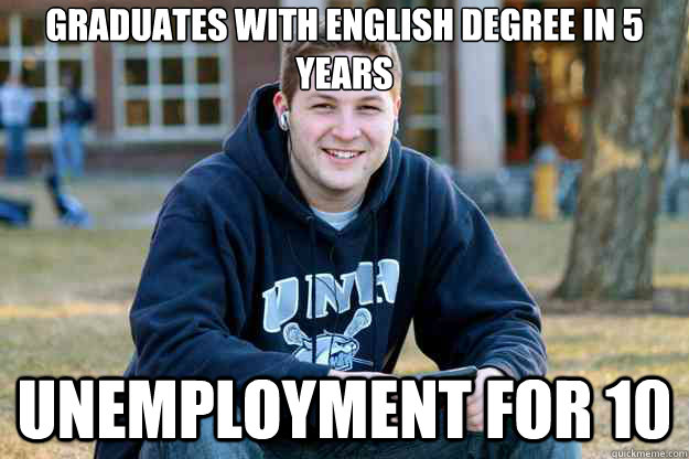 graduates with english degree in 5 years unemployment for 10 -