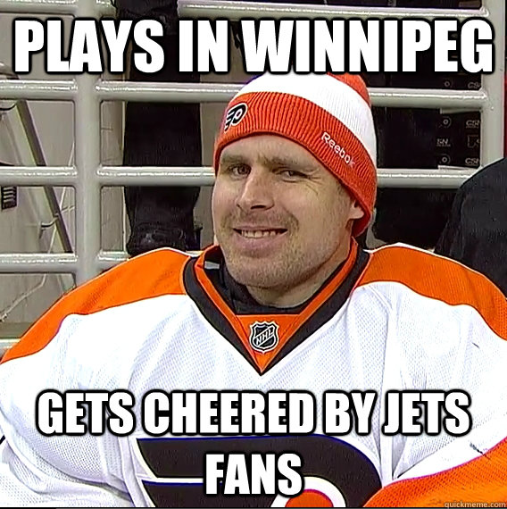 plays in winnipeg gets cheered by jets fans - Ilya Bryzgalov Solid Guy