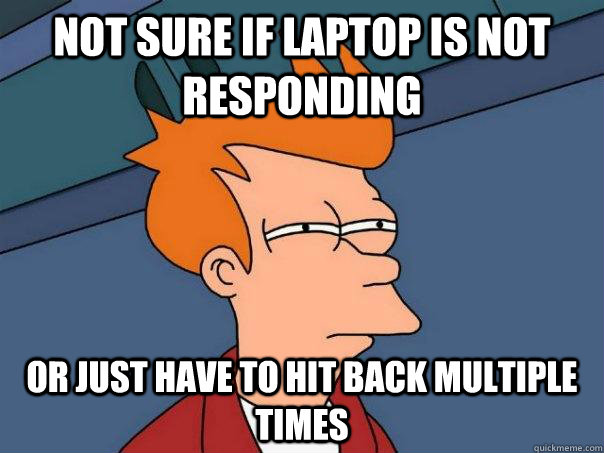 not sure if laptop is not responding or just have to hit bac - Futurama Fry