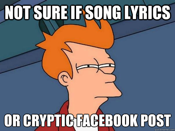 not sure if song lyrics or cryptic facebook post - Not sure Fry
