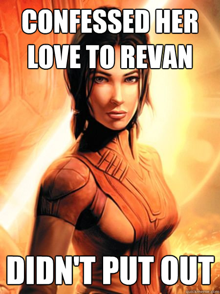 confessed her love to revan didnt put out - Bastila Shan